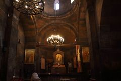 The interior of the church of the Holy Mother of God, Surb Astvatzatzin, in Khor Virap, Armenia royalty free stock images
