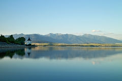The church Havranok next to Liptovska Mara. Beautiful dam in Liptov - Liptovska Mara, Slovakia Royalty Free Stock Images