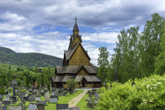 Church of Heddal in Norway. A shot of Heddal stave church with his cementary Royalty Free Stock Photo