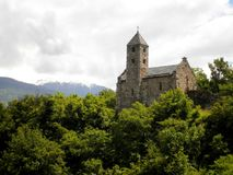 Church on the Hill. Stunning view of a swiss church on the hill royalty free stock image
