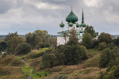 Church on a hill with footpaths Royalty Free Stock Images