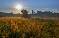 Church on hill morning field landscape. Russian christian church on hill foggy morning landscape Royalty Free Stock Photography