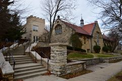 The Church on the Hill. This is a picture of Christ Church in Winnetka, Illinois, known as the church on the hill.  This is an Episcopal Church built in 1905 Stock Photo