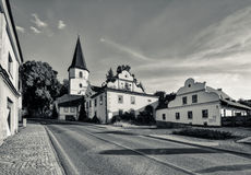 Church on the hill. Picturesque church on the hill in the border town Stock Image