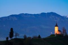 Church on the hill at sunset at Jamnik Royalty Free Stock Photos