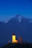 Church on the hill at sunset at Jamnik Stock Photos