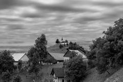 Church on the hill top. St Jakob church on the hill top in Slovenia royalty free stock image