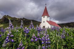 Church in Vik. Church on the hill in Vik i Myrdal village in southern part of Iceland royalty free stock photos