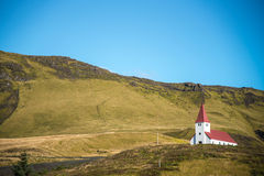 Church on hill in Vik, Southern Iceland Stock Photo