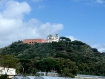 Church in the hills from the motoway from naples to Sorrento in Southern Italy. Sorrento is a small city in Campania, Italy, with some 16,500 inhabitants. It is royalty free stock images