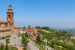 Church and hills of Piedmont, Italy. Royalty Free Stock Image