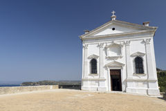 Church on hillside in Piran Royalty Free Stock Image