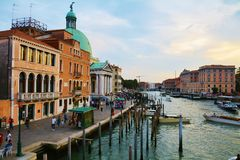 Church, historical buildings and Grand Canal, Venice, Italy royalty free stock photography
