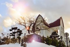 Church in Hokkaido, Japan with the beautiful sky stock photo