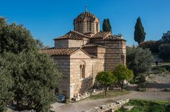 Church of Holy Apostles in ancient Greek Agora archaeological si. Te Athens, Greece Stock Image