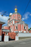 The church of the Holy Apostles Peter and Paul by the Yauza Gate under cloudy sky, Moscow, Russia. 1700 year built. Church of the Holy Apostles Peter and Paul by Royalty Free Stock Image