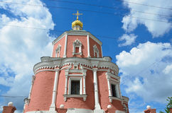 The church of the Holy Apostles Peter and Paul by the Yauza Gate under cloudy sky, Moscow, Russia. 1700 year built. The church of Holy Apostles Peter and Paul by Royalty Free Stock Photo