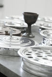 Church holy communion tray of wine cups Stock Photography