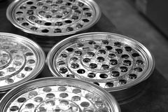 Church holy communion tray of wine cups Stock Photo