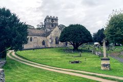 The Church of the Holy Cross in Avening in the Cotswolds stock photo