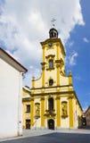 Church of Holy Cross, Cieszyn, Poland. Church of Holy Cross ( Kosciol Swietego Krzyza ), Cieszyn, Silesia, Poland, Central Europe - renovated yellow sacral royalty free stock photos