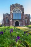 Church of the Holy Cross, Crediton Devon. Crediton Parish Church, formally the Church of the Holy Cross and the Mother of Him who Hung Thereon, is a prominent Royalty Free Stock Image