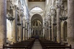 Church of Holy Cross. Inside the church of the Holy Cross in the historic center of Lecce Royalty Free Stock Photo