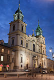 Church of the Holy Cross at Night in Warsaw Royalty Free Stock Photo