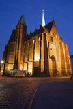 Church of the Holy Cross by Night in Wroclaw Stock Image