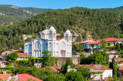 Church of holy cross in Pedoulas village. Stock Images