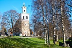 Church of The Holy Cross in Rauma, Finland. Old town of Rauma, Finland in spring time Stock Photos