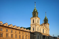 Church of the Holy Cross and Tenement Houses in Warsaw Royalty Free Stock Images