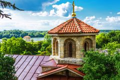 Church of the Holy Mother of God Crkva Ruzica in Belgrade Fortress or Beogradska Tvrdjava. Consists of the old citadel and Kalemegdan Park on the confluence of Stock Photography
