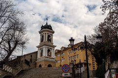 The Church of the Holy Mother of God in Plovdiv, Bulgaria. The Holy Assumption of Mary Church in old town of Plovdiv on one of the seven hills, Nebet Tepe stock photo