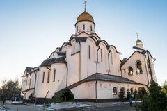 Church of the Holy Reverend Prince Alexander Nevsky at Moscow State Institute of International RelationsMGIMO. Russia. The Church was established by the idea of Stock Image