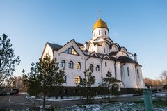 Church of the Holy Reverend Prince Alexander Nevsky at Moscow State Institute of International RelationsMGIMO. Russia. The Church was established by the idea of Stock Photo
