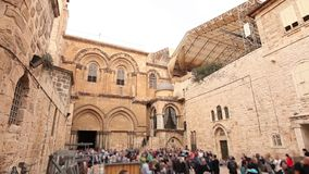 Church of the Holy Sepulcher. People near the temple of the Holy Sepulcher, Jerusalem, Israel