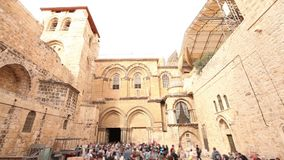 Church of the Holy Sepulcher time lapse. People near the temple of the Holy Sepulcher, Jerusalem, Israel