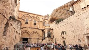Church of the Holy Sepulcher timelapse. People near the temple of the Holy Sepulcher, Jerusalem, Israel