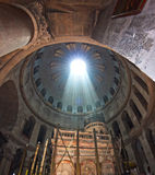 Church of the Holy Sepulchre. With sunlight ray from above royalty free stock photo