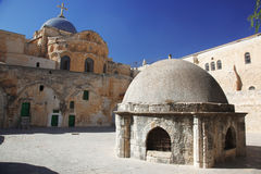Church of the Holy Sepulchre. Place at Dome on the Church of the Holy Sepulchre in Jerusalem stock images