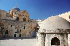 Church of the Holy Sepulchre. Dome on the Church of the Holy Sepulchre in Jerusalem, Israel royalty free stock images
