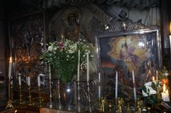 Fragment Jesus`s empty tomb, where he is said to have been buried and resurrected. The Church of the Holy Sepulchre also called the Church of the Resurrection is royalty free stock photo