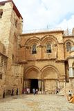 Church of the Holy Sepulchre in Jerusalem, Israel. The church contains, according to traditions dating back to at least the fourth century, the two holiest stock photo