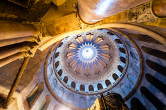 Church of the Holy Sepulchre in old city Jerusalem, Israel. The spectacular Dome of the Rotunda just above the Edicule at the Church of the Holy Sepulchre in stock photography