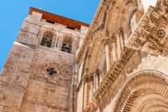 Church of the Holy Sepulchre in Old City of Jerusalem. View on main entrance in at the Church of the Holy Sepulchre in Old City of Jerusalem Stock Image