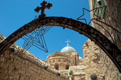 Church Of The Holy Sepulchre from Via Dolorosa Royalty Free Stock Photography