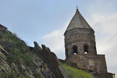Church of the Holy Trinity, the business card of Georgia in the mountains at the foot of the Caucasus. Stock Images