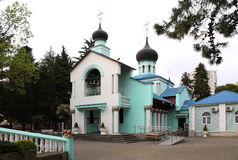 Church of the Holy Trinity. Facade and courtyard of the Holy Trinity Church in the city of Sochi Stock Photo