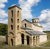 The church of the Holy Trinity in the orthodox Sopocani monastery. Sopocani monastery is located in Serbia. The church was completed around 1265. The monastery stock images